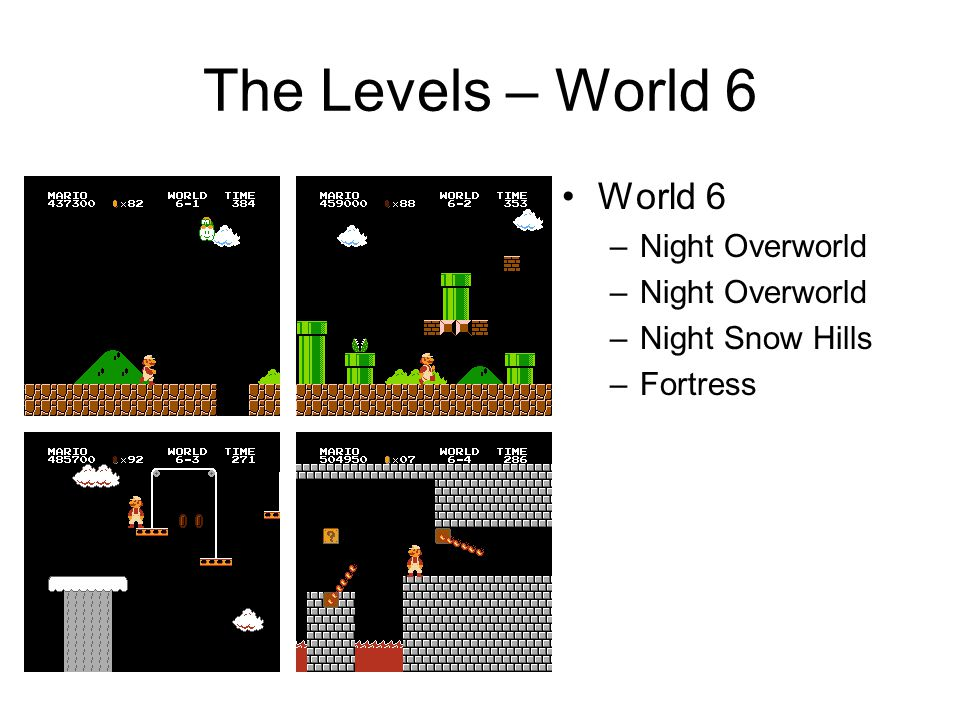 The Levels – World 6 World 6 –Night Overworld –Night Snow Hills –Fortress