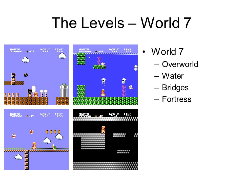 The Levels – World 7 World 7 –Overworld –Water –Bridges –Fortress