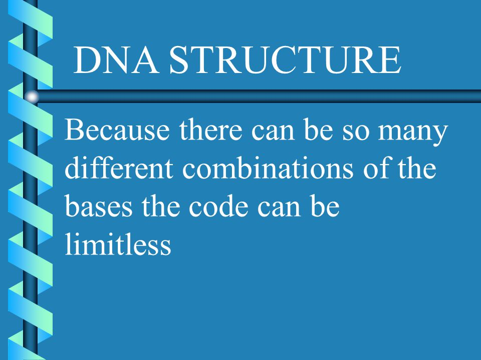 DNA STRUCTURE Because there can be so many different combinations of the bases the code can be limitless