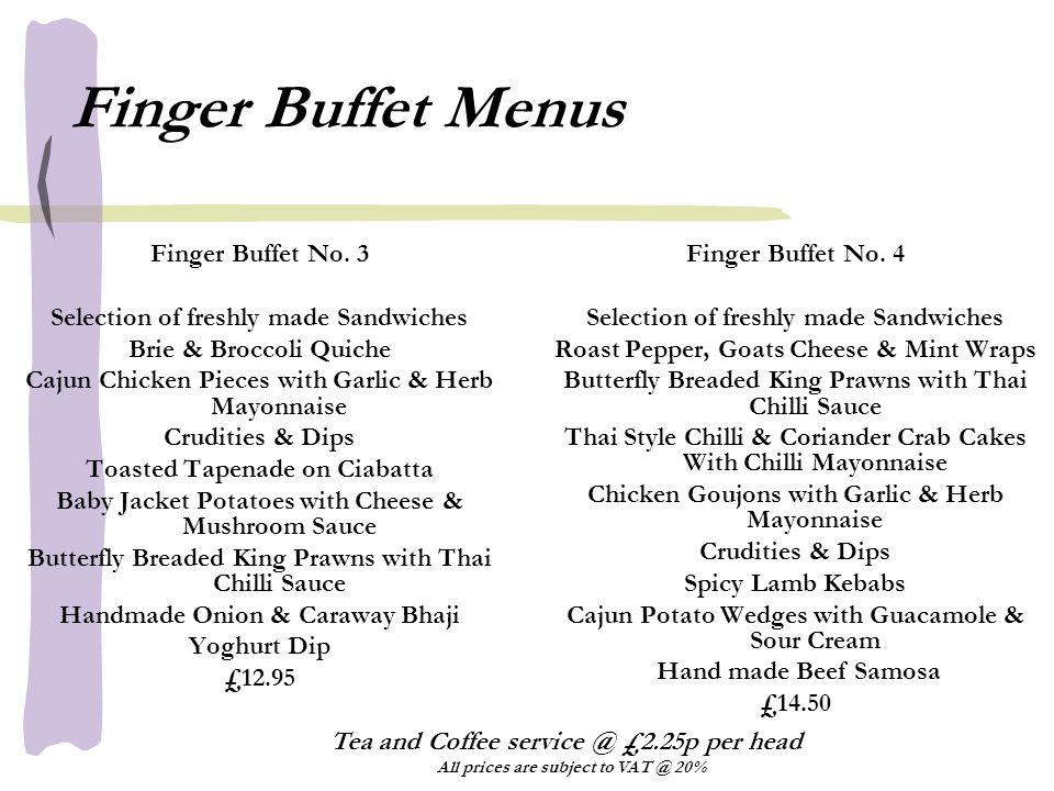Finger Buffet Menus Finger Buffet No.