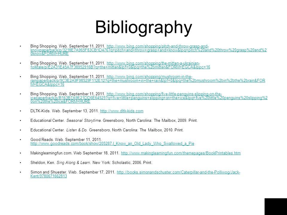 Bibliography Bing Shopping. Web. September 11, 2011.