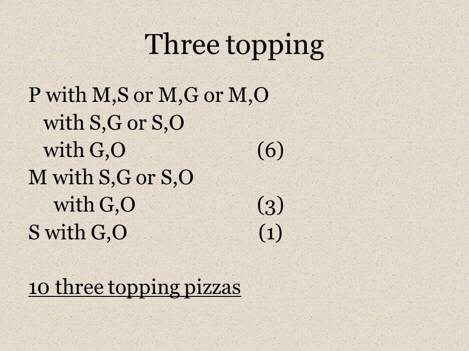 Three topping P with M,S or M,G or M,O with S,G or S,O with G,O (6) M with S,G or S,O with G,O (3) S with G,O (1) 10 three topping pizzas