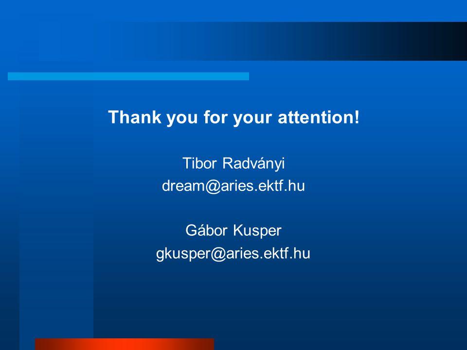 Thank you for your attention! Tibor Radványi dream@aries.ektf.hu Gábor Kusper gkusper@aries.ektf.hu