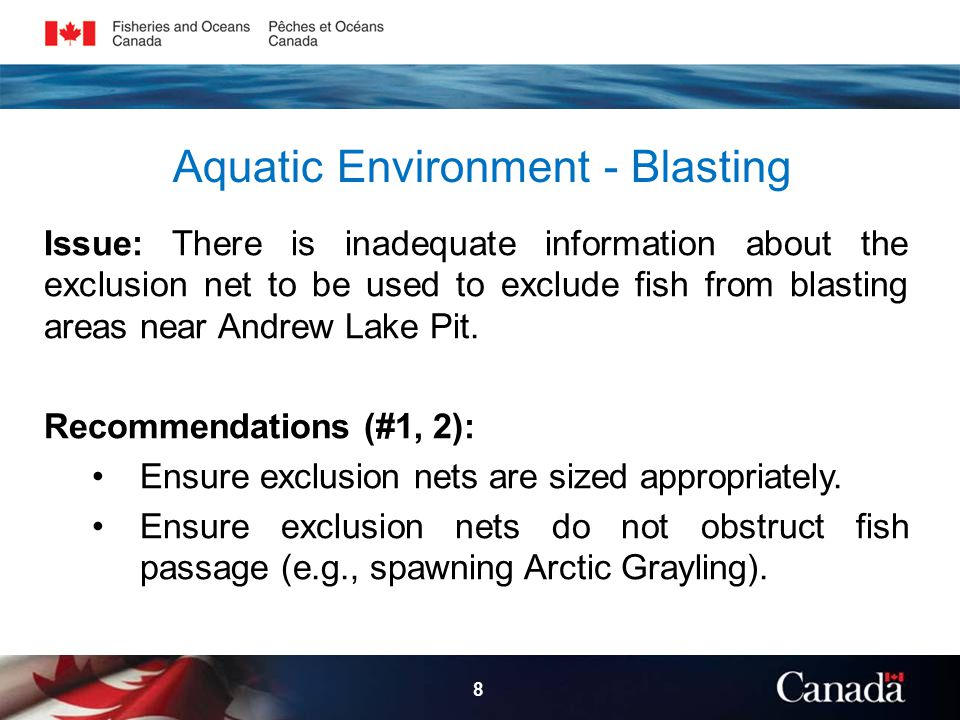 Aquatic Environment - Blasting Issue: There is inadequate information about the exclusion net to be used to exclude fish from blasting areas near Andrew Lake Pit.