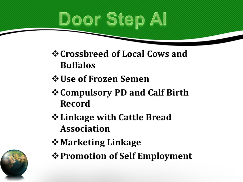 Crossbreed of Local Cows and Buffalos  Use of Frozen Semen  Compulsory PD and Calf Birth Record  Linkage with Cattle Bread Association  Marketing Linkage  Promotion of Self Employment