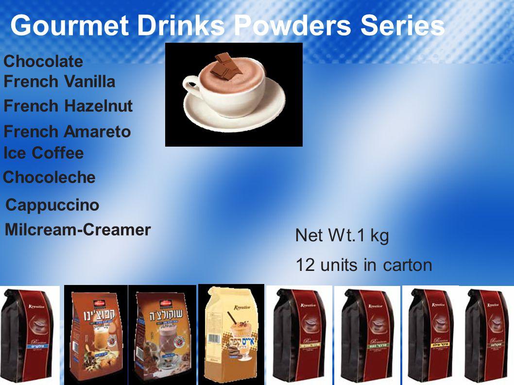 Gourmet Drinks Powders Series French Vanilla French Hazelnut French Amareto Ice Coffee Chocoleche Cappuccino Milcream-Creamer Net Wt.1 kg 12 units in carton Chocolate