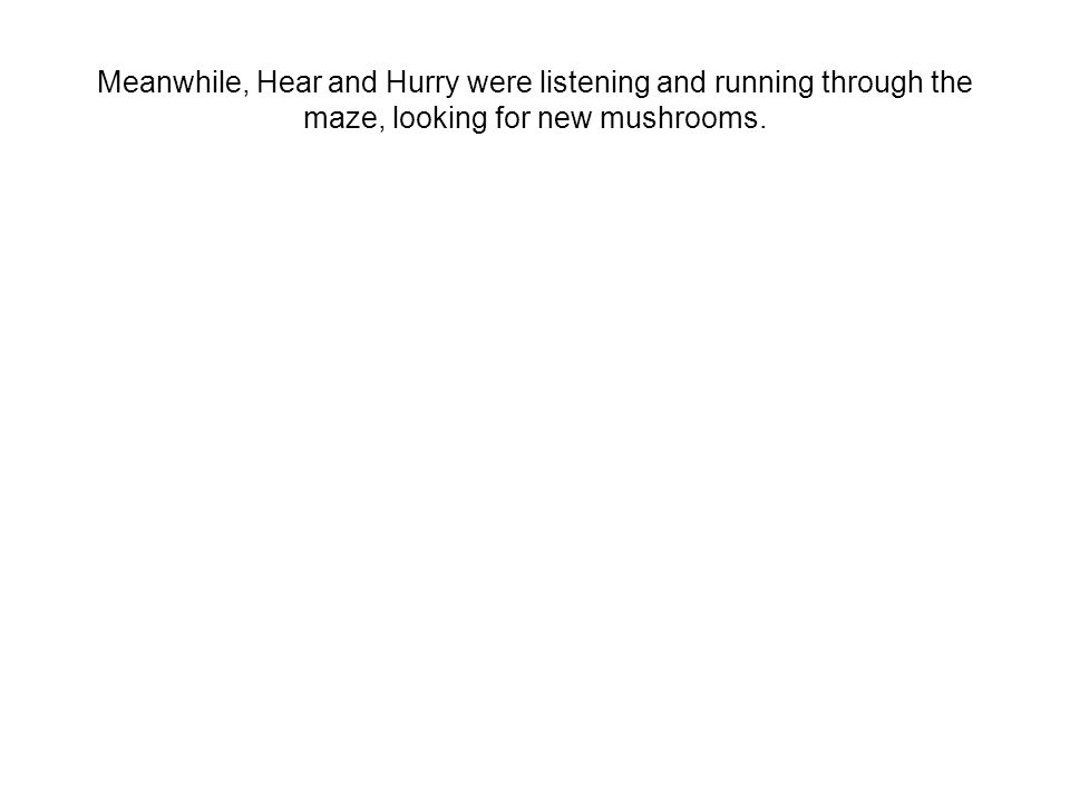 Meanwhile, Hear and Hurry were listening and running through the maze, looking for new mushrooms.