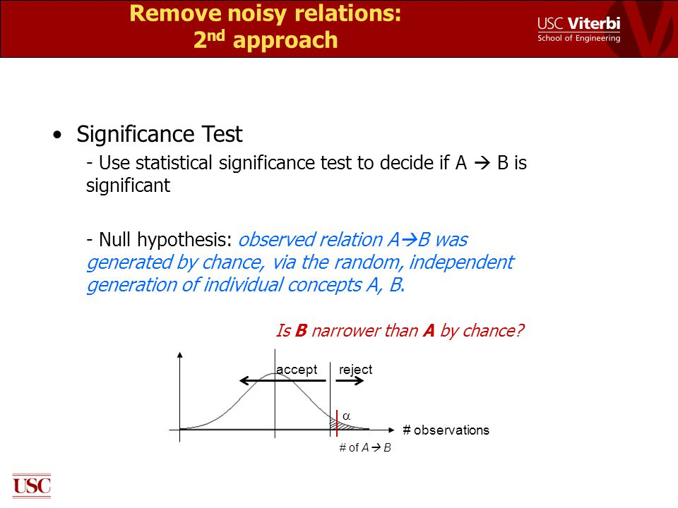 Remove noisy relations: 2 nd approach Significance Test - Use statistical significance test to decide if A  B is significant - Null hypothesis: obser