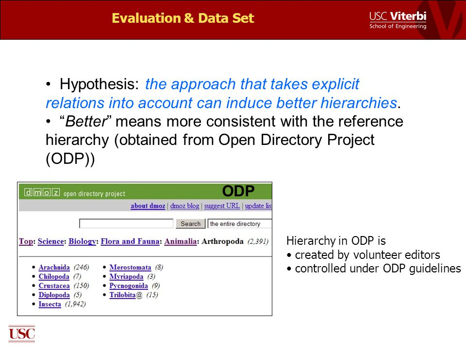"Evaluation & Data Set Hypothesis: the approach that takes explicit relations into account can induce better hierarchies. ""Better"" means more consisten"