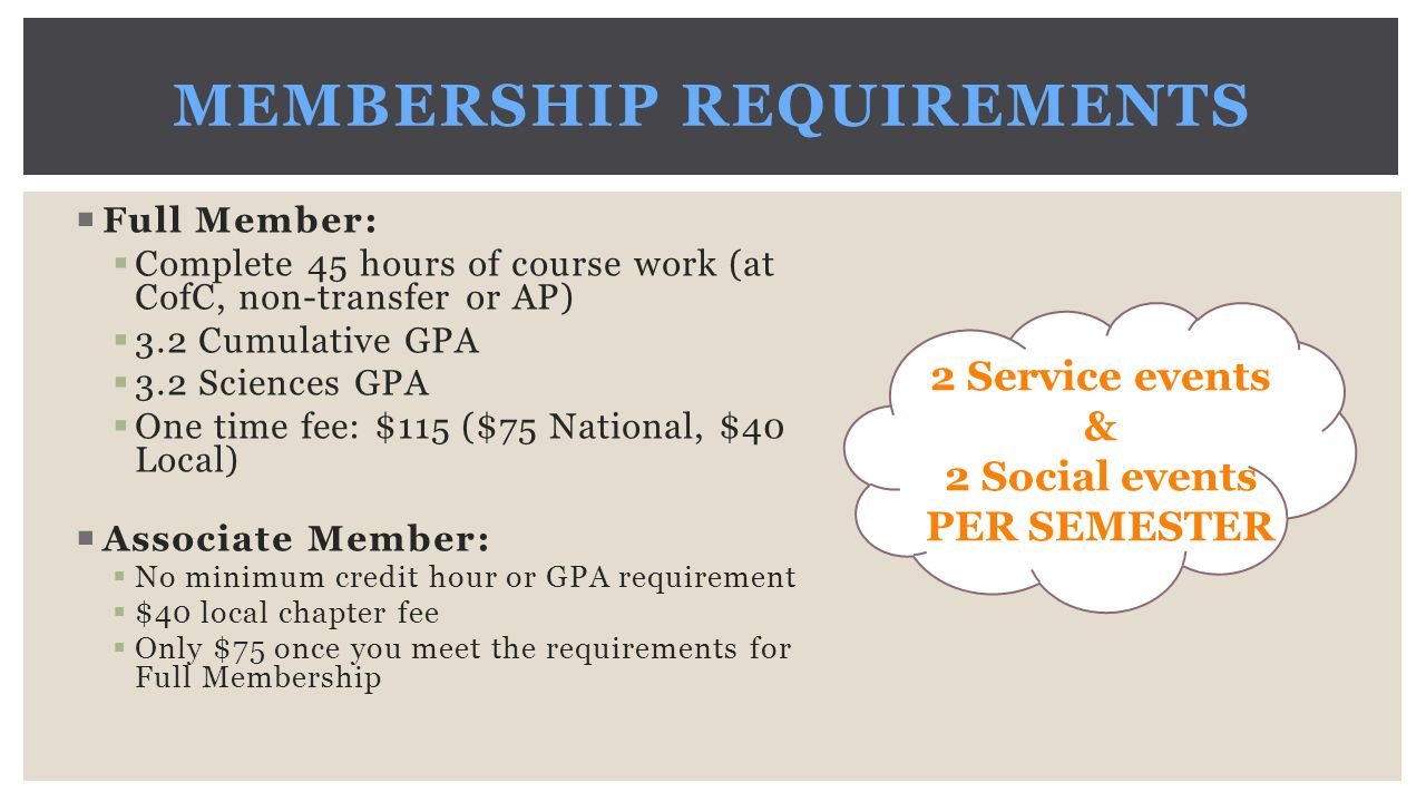 MEMBERSHIP REQUIREMENTS  Full Member:  Complete 45 hours of course work (at CofC, non-transfer or AP)  3.2 Cumulative GPA  3.2 Sciences GPA  One time fee: $115 ($75 National, $40 Local)  Associate Member:  No minimum credit hour or GPA requirement  $40 local chapter fee  Only $75 once you meet the requirements for Full Membership 2 Service events & 2 Social events PER SEMESTER