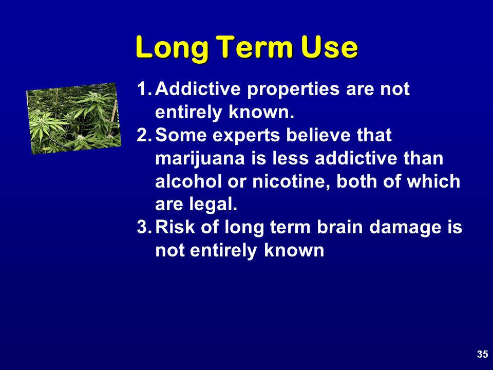 1.Addictive properties are not entirely known.