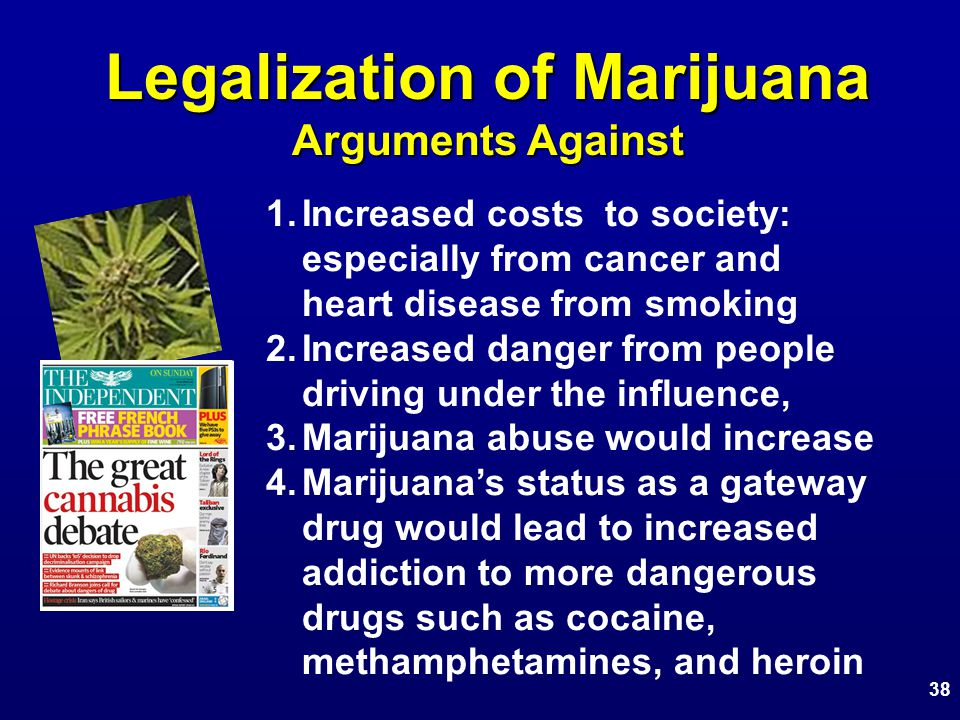 Legalization of Marijuana Arguments Against 1.Increased costs to society: especially from cancer and heart disease from smoking 2.Increased danger from people driving under the influence, 3.Marijuana abuse would increase 4.Marijuana's status as a gateway drug would lead to increased addiction to more dangerous drugs such as cocaine, methamphetamines, and heroin 38