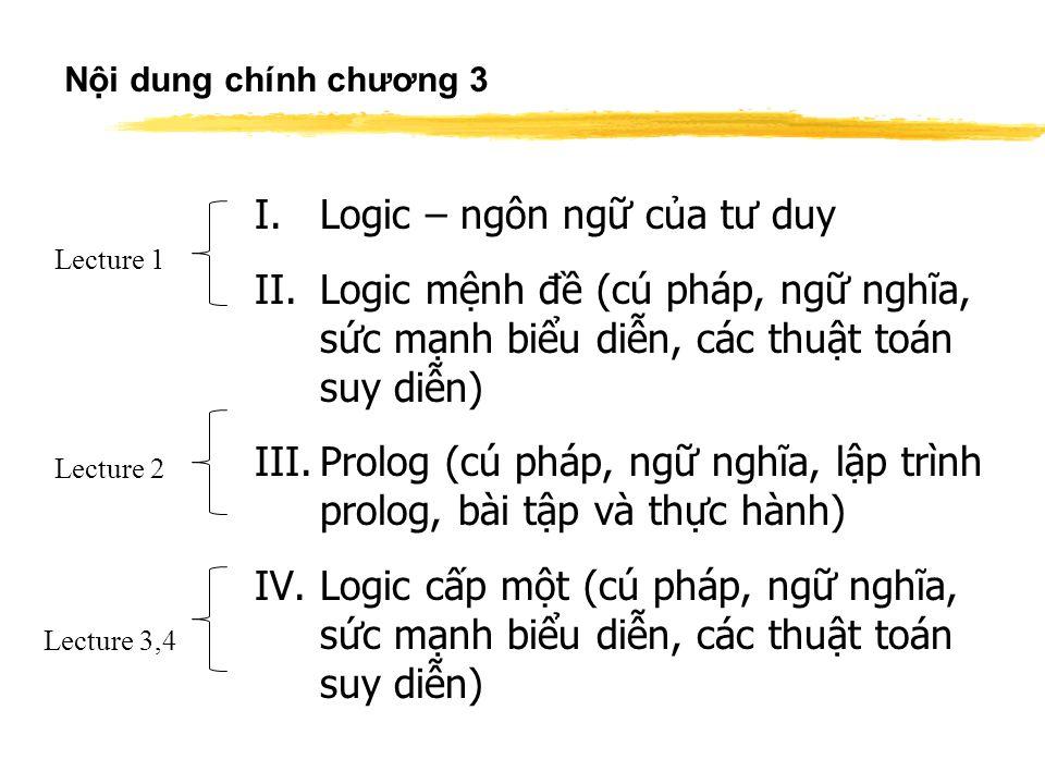 Nội dung chính chương 3 I.Logic – ngôn ngữ của tư duy II.Logic mệnh đề (cú pháp, ngữ nghĩa, sức mạnh biểu diễn, các thuật toán suy diễn) III.Prolog (cú pháp, ngữ nghĩa, lập trình prolog, bài tập và thực hành) IV.Logic cấp một (cú pháp, ngữ nghĩa, sức mạnh biểu diễn, các thuật toán suy diễn) Lecture 1 Lecture 2 Lecture 3,4