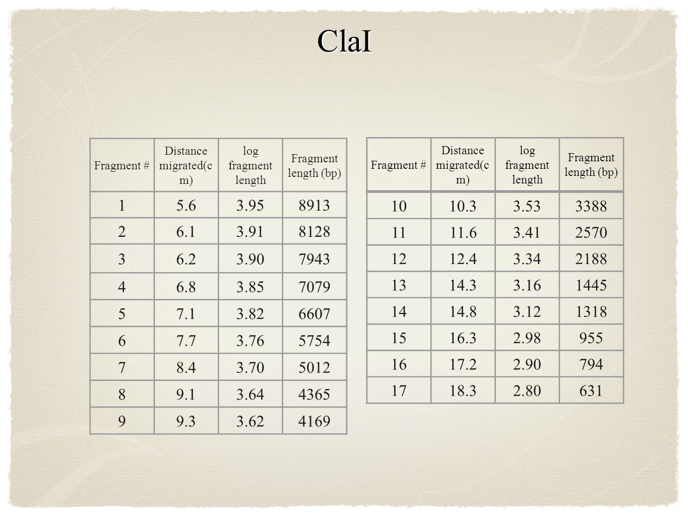 ClaI Fragment # Distance migrated(c m) log fragment length Fragment length (bp) 15.63.958913 26.13.918128 36.23.907943 46.83.857079 57.13.826607 67.73.765754 78.43.705012 89.13.644365 99.33.624169 1010.33.533388 1111.63.412570 1212.43.342188 1314.33.161445 1414.83.121318 1516.32.98955 1617.22.90794 1718.32.80631 Fragment # Distance migrated(c m) log fragment length Fragment length (bp)