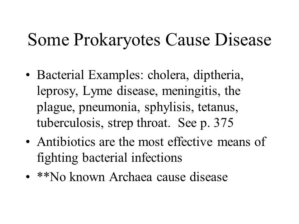 Some Prokaryotes Cause Disease Bacterial Examples: cholera, diptheria, leprosy, Lyme disease, meningitis, the plague, pneumonia, sphylisis, tetanus, t