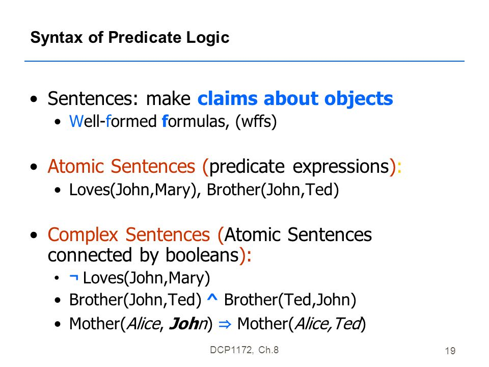 DCP1172, Ch.8 19 Syntax of Predicate Logic Sentences: make claims about objects Well-formed formulas, (wffs) Atomic Sentences (predicate expressions): Loves(John,Mary), Brother(John,Ted) Complex Sentences (Atomic Sentences connected by booleans): ¬ Loves(John,Mary) Brother(John,Ted) ^ Brother(Ted,John) Mother(Alice, John) ⇒ Mother(Alice,Ted)