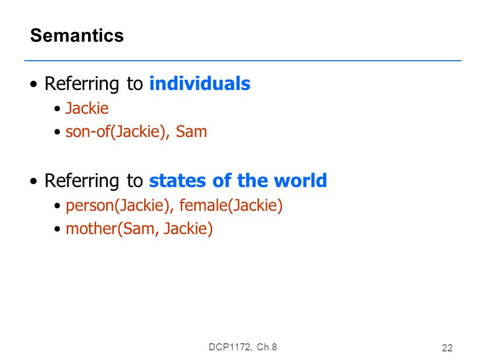DCP1172, Ch.8 22 Semantics Referring to individuals Jackie son-of(Jackie), Sam Referring to states of the world person(Jackie), female(Jackie) mother(Sam, Jackie)