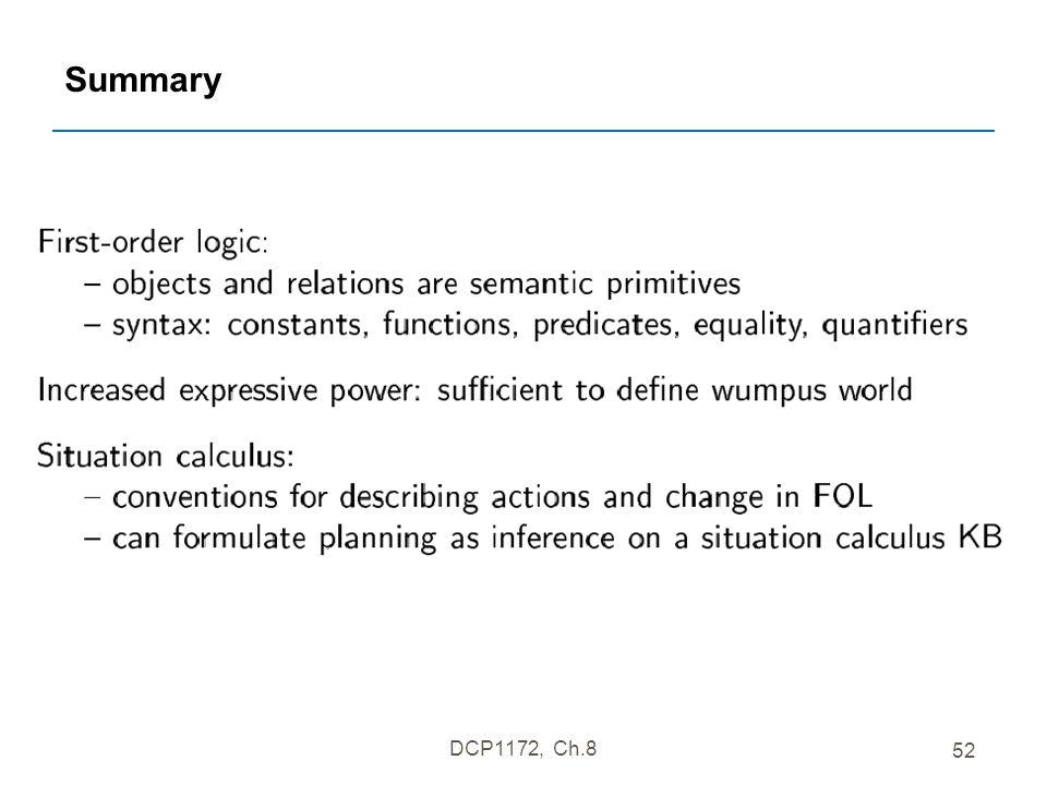 DCP1172, Ch.8 52 Summary