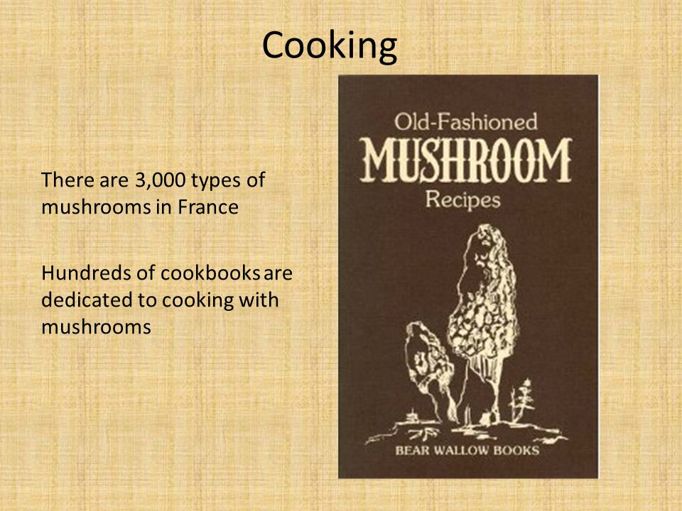 Cooking There are 3,000 types of mushrooms in France Hundreds of cookbooks are dedicated to cooking with mushrooms