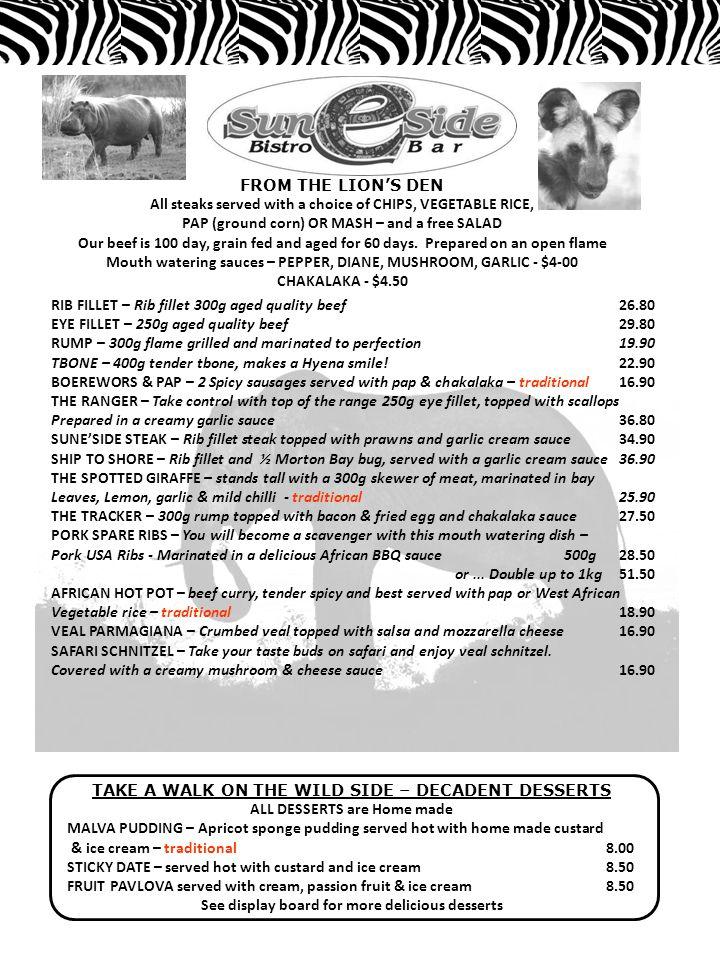 THE WATERING HOLE BYO $3-00pp, WINE ONLY we are fully licensed WINES from the Southern Hemisphere WHITE WINES bottleGlass Evans & TateChardonnayAustralia 25.006.80 ObikweChardonnaySouth Africa 22.506.00 NederbergSauvignon BlancSouth Africa 26.807.20 Evans & TateSauvignon BlancAustralia 25.006.80 ObikweSauvignon BlancSouth Africa 22.506.00 RED WINES ObikweMerlot, Cab, ShirazSouth Africa 22.506.00 Taylors – Promised LandMerlotAustralia 26.807.20 PenfoldsShirazAustralia 26.807.20 CHAMPAGNE & COCKTAILS Brown Bros.