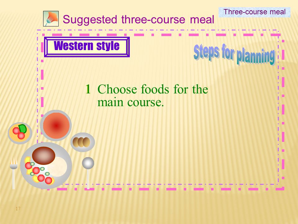 16 Suggested three-course meal Consists of three courses: a soup. a main course with side vegetables or salad. If necessary, serve it with rice or pas