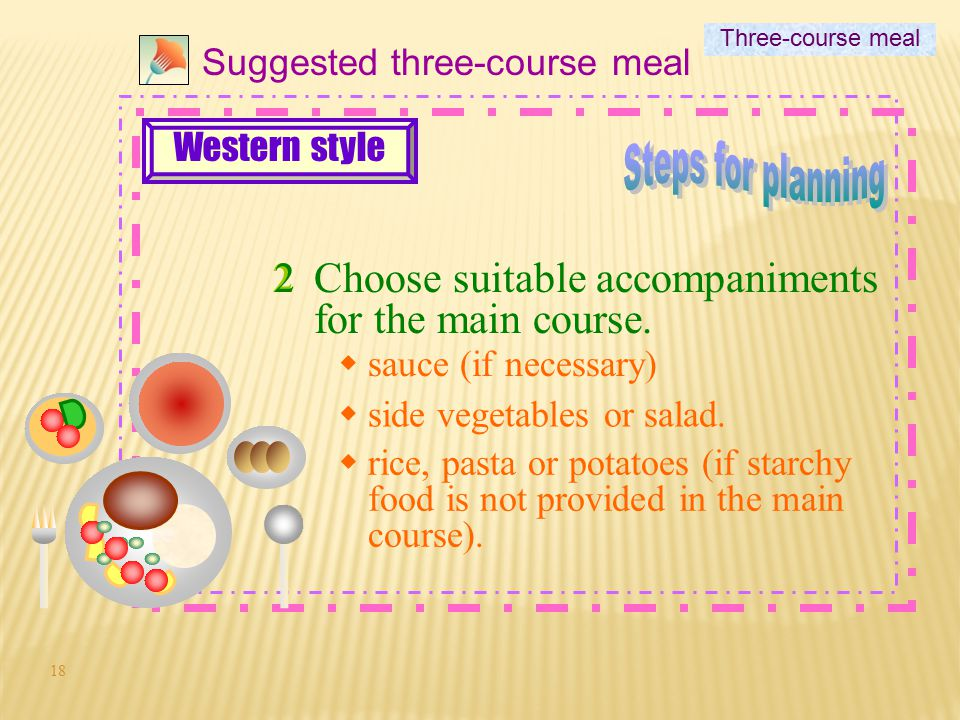 17 1 Suggested three-course meal 1Choose foods for the main course. Three-course meal Western style