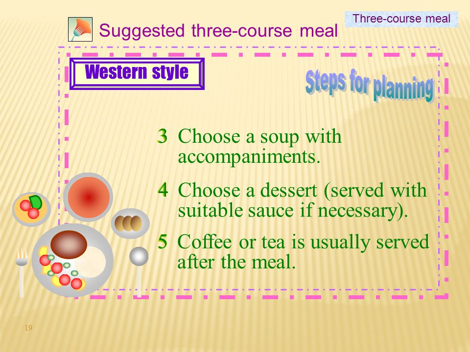 18 2 Suggested three-course meal 2Choose suitable accompaniments for the main course.  sauce (if necessary)  side vegetables or salad.  rice, pasta