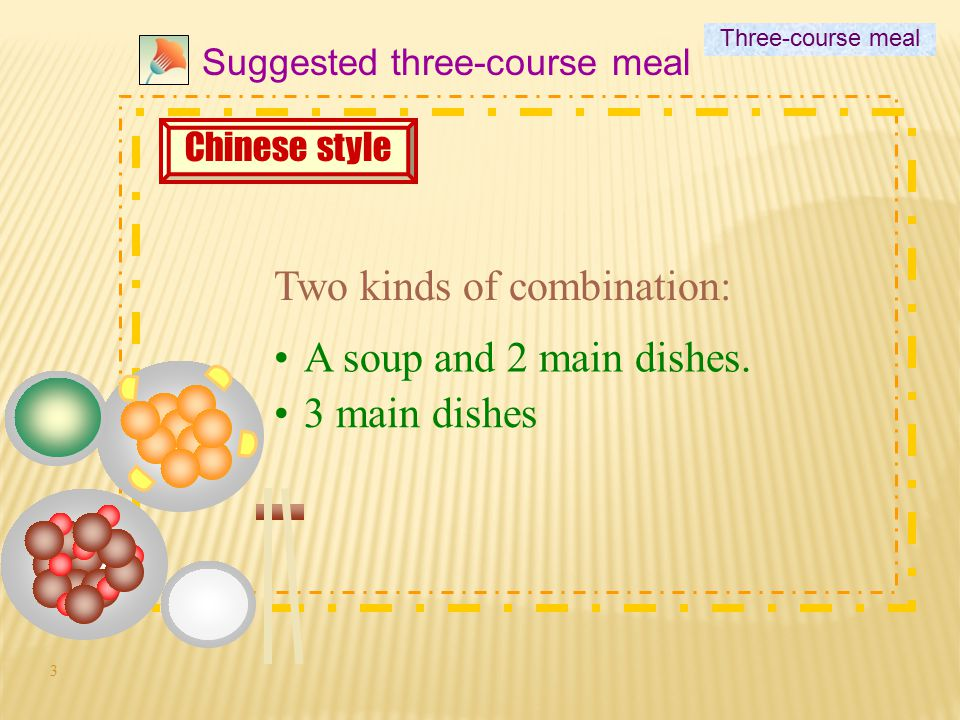 3 Suggested three-course meal Chinese style Two kinds of combination: A soup and 2 main dishes.