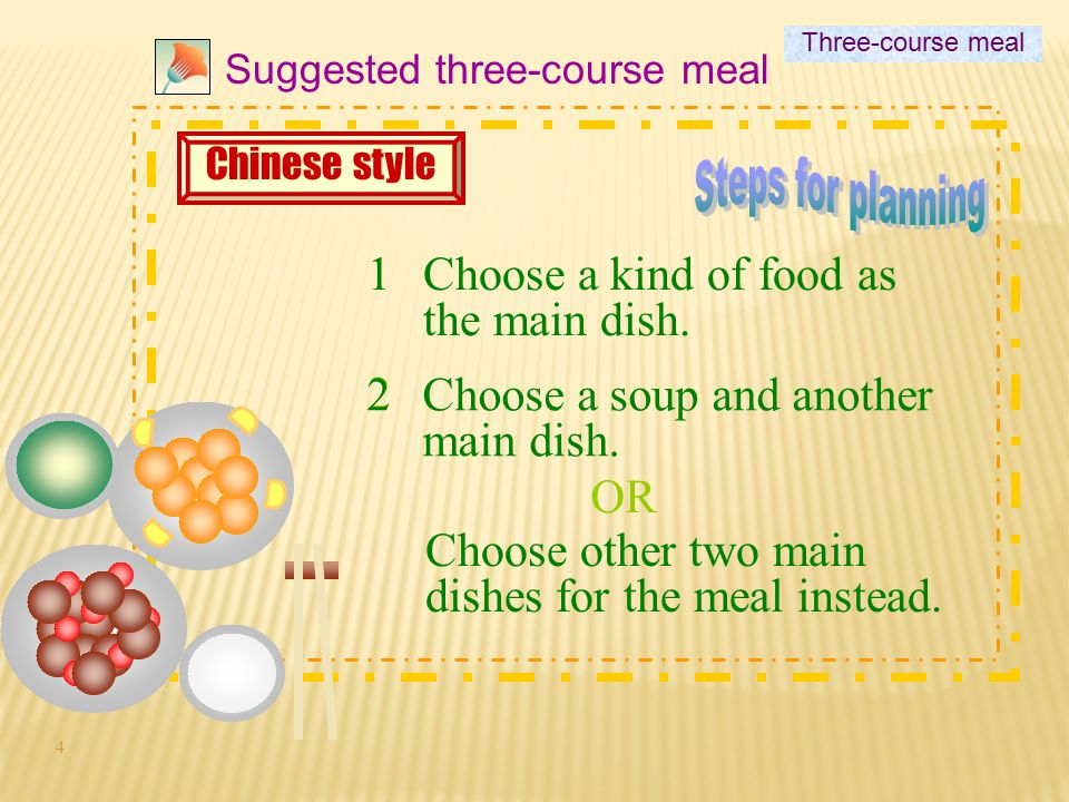 4 1 Suggested three-course meal 1Choose a kind of food as the main dish.