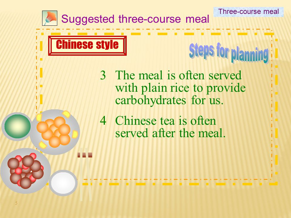 5 3 4 Suggested three-course meal 3The meal is often served with plain rice to provide carbohydrates for us.