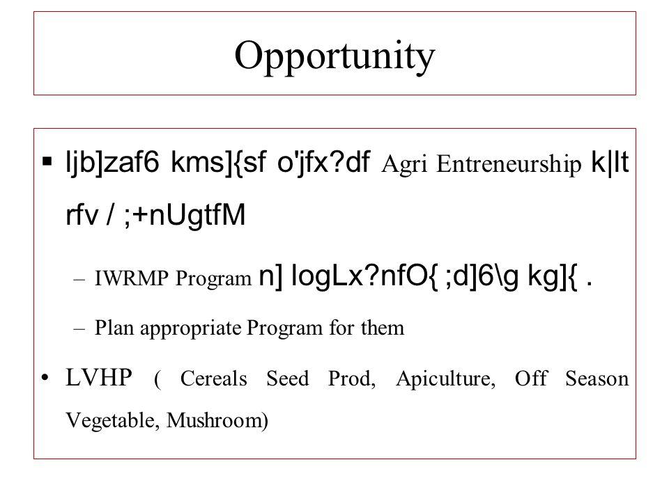 Opportunity  ljb]zaf6 kms]{sf o jfx?df Agri Entreneurship k lt rfv / ;+nUgtfM –IWRMP Program n] logLx?nfO{ ;d]6\g kg]{.
