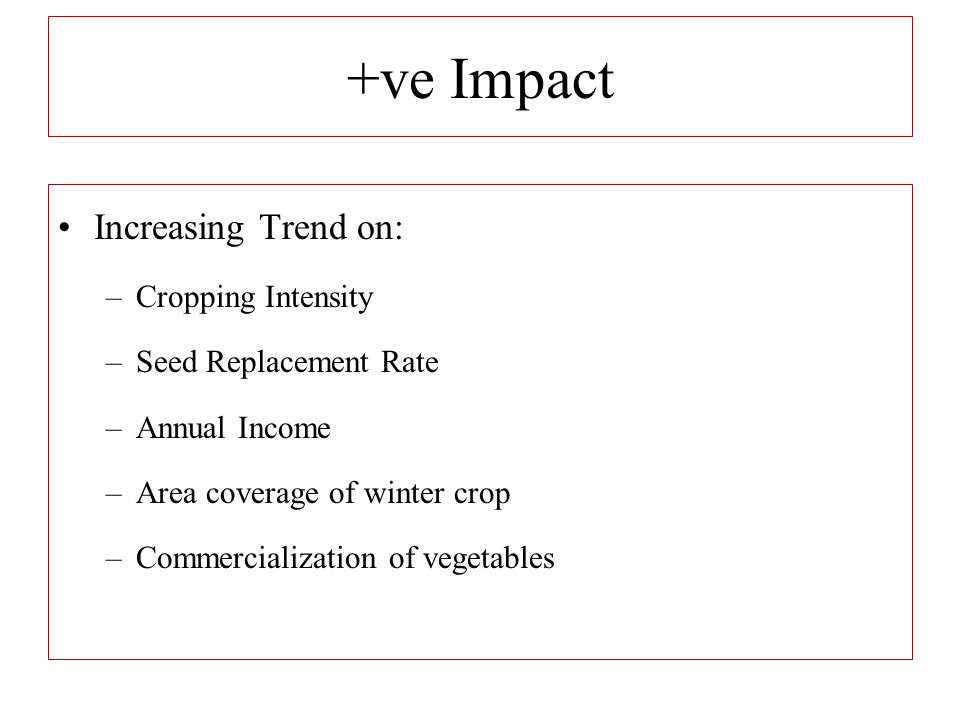 +ve Impact Increasing Trend on: –Cropping Intensity –Seed Replacement Rate –Annual Income –Area coverage of winter crop –Commercialization of vegetabl