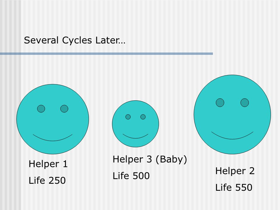 Helper 1 Life 250 Helper 2 Life 550 Helper 3 (Baby) Life 500 Several Cycles Later…