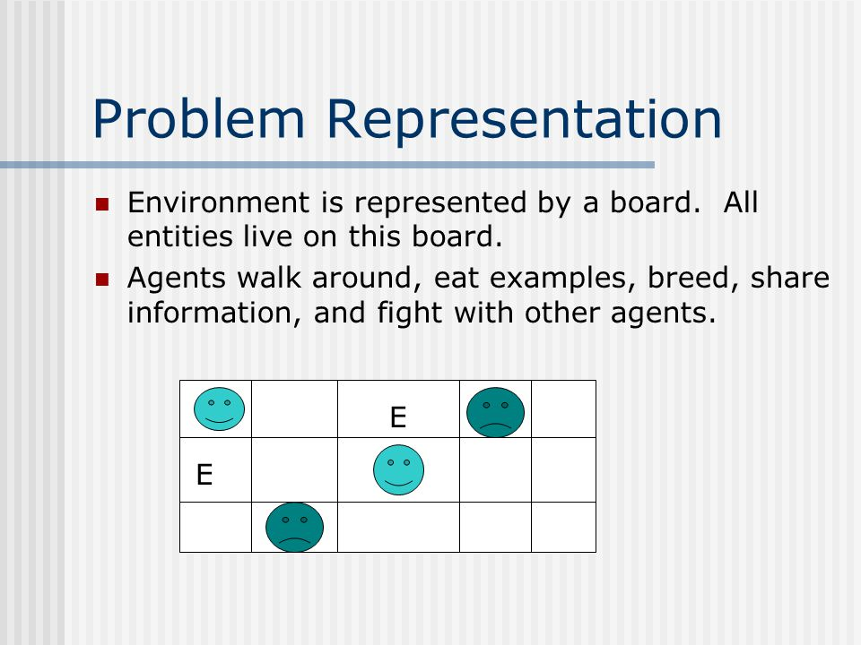 Problem Representation Environment is represented by a board.