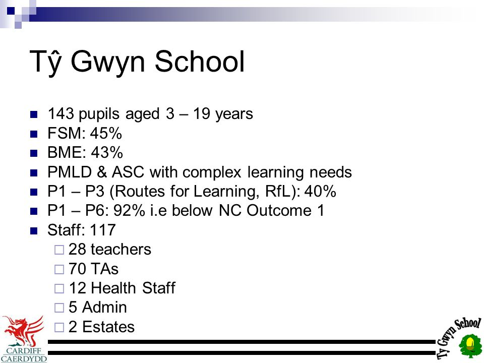 Tŷ Gwyn School 143 pupils aged 3 – 19 years FSM: 45% BME: 43% PMLD & ASC with complex learning needs P1 – P3 (Routes for Learning, RfL): 40% P1 – P6: 92% i.e below NC Outcome 1 Staff: 117  28 teachers  70 TAs  12 Health Staff  5 Admin  2 Estates