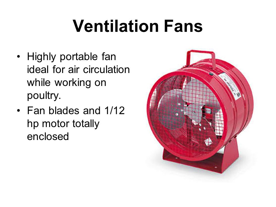 Ventilation Fans Highly portable fan ideal for air circulation while working on poultry. Fan blades and 1/12 hp motor totally enclosed
