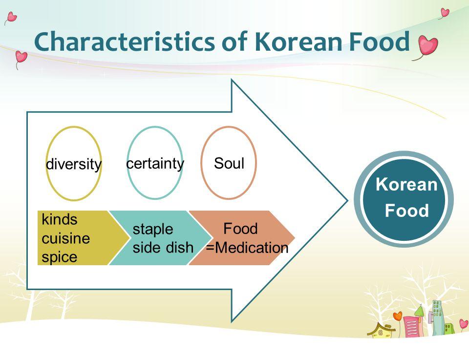 Characteristics of Korean Food Food =Medication staple side dish kinds cuisine spice diversity certaintySoul Korean Food