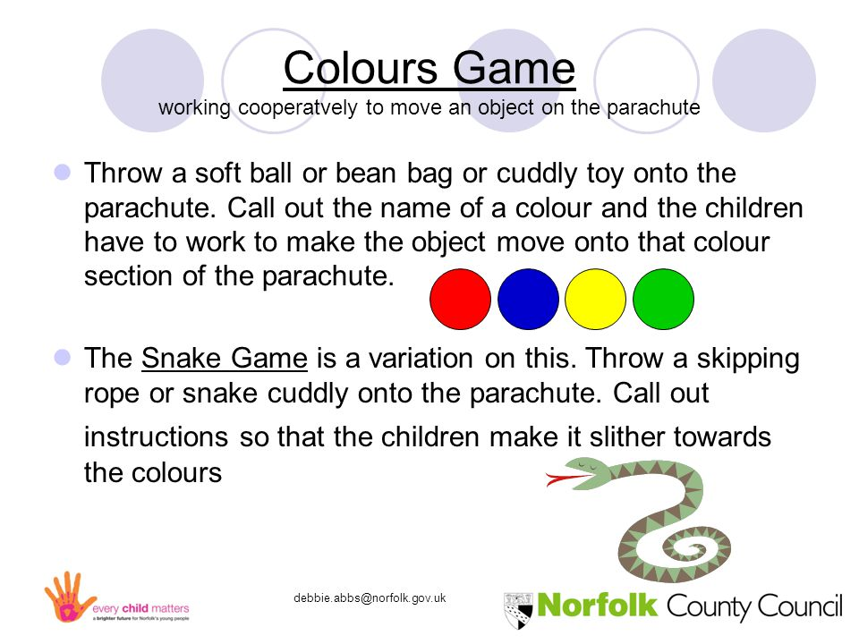 debbie.abbs@norfolk.gov.uk Colours Game working cooperatvely to move an object on the parachute Throw a soft ball or bean bag or cuddly toy onto the parachute.