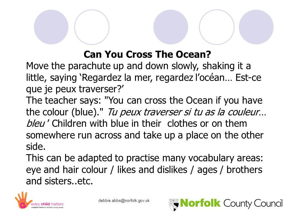 debbie.abbs@norfolk.gov.uk Circle Time Games Circle time is … a space in which children can learn the skills they need to thrive in life, such as effective communication, emotional literacy.....