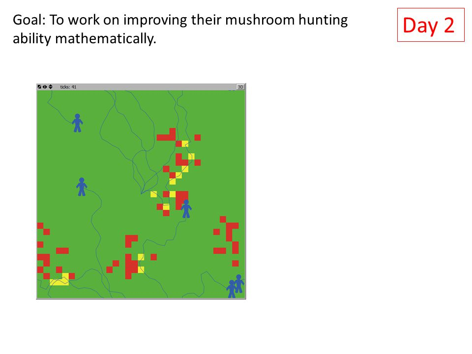 Day 2 Goal: To work on improving their mushroom hunting ability mathematically.