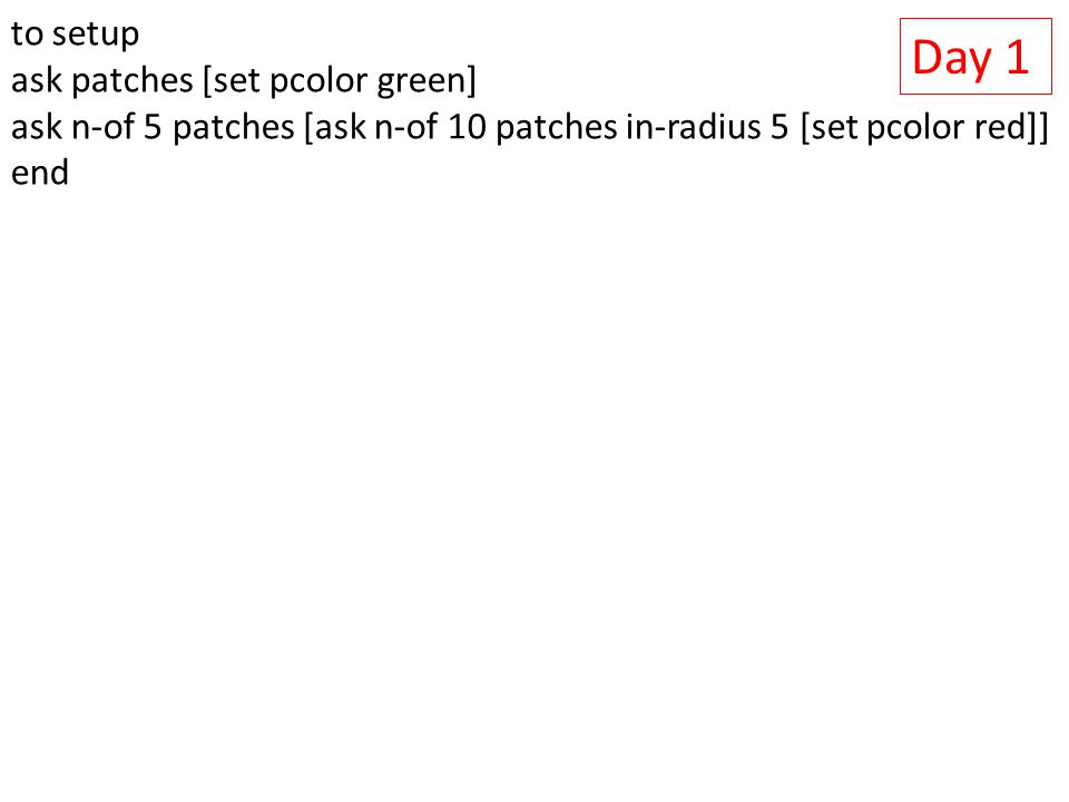 Day 1 to setup ask patches [set pcolor green] ask n-of 5 patches [ask n-of 10 patches in-radius 5 [set pcolor red]] end