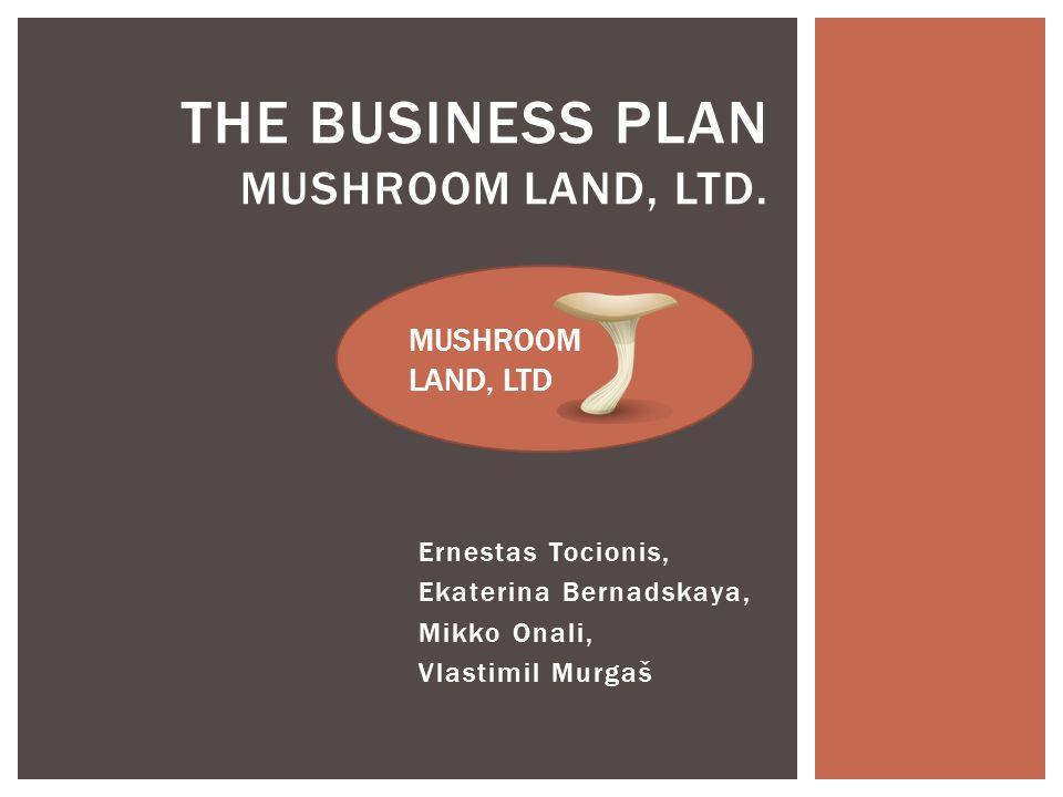 Ernestas Tocionis, Ekaterina Bernadskaya, Mikko Onali, Vlastimil Murgaš THE BUSINESS PLAN MUSHROOM LAND, LTD.