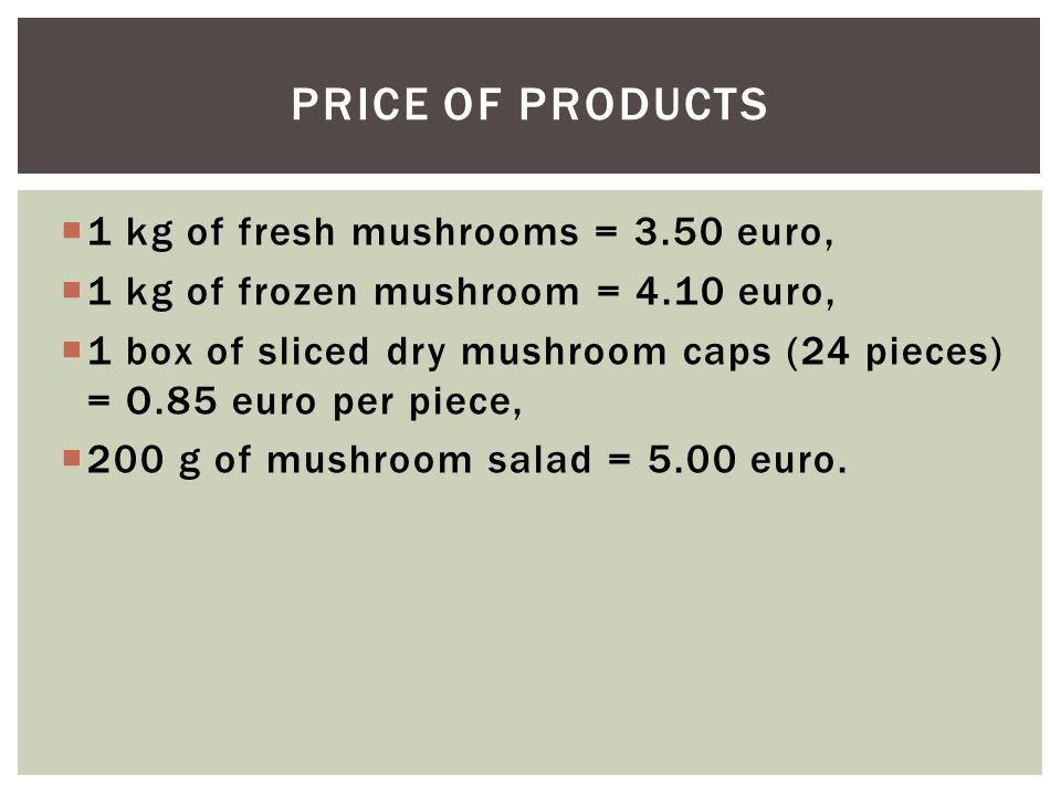  1 kg of fresh mushrooms = 3.50 euro,  1 kg of frozen mushroom = 4.10 euro,  1 box of sliced dry mushroom caps (24 pieces) = O.85 euro per piece,  200 g of mushroom salad = 5.00 euro.