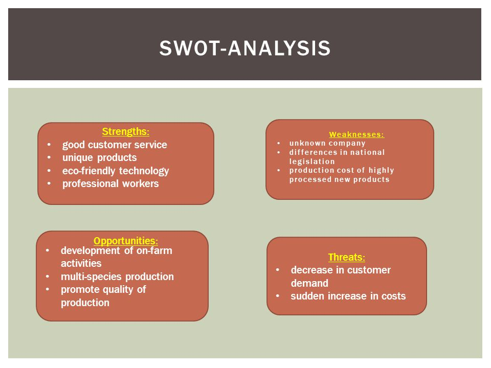 SWOT-ANALYSIS development of on-farm activities multi-species production promote quality of production Strengths: good customer service unique products eco-friendly technology professional workers Opportunities: Threats: decrease in customer demand sudden increase in costs  Weaknesses: unknown company differences in national legislation production cost of highly processed new products