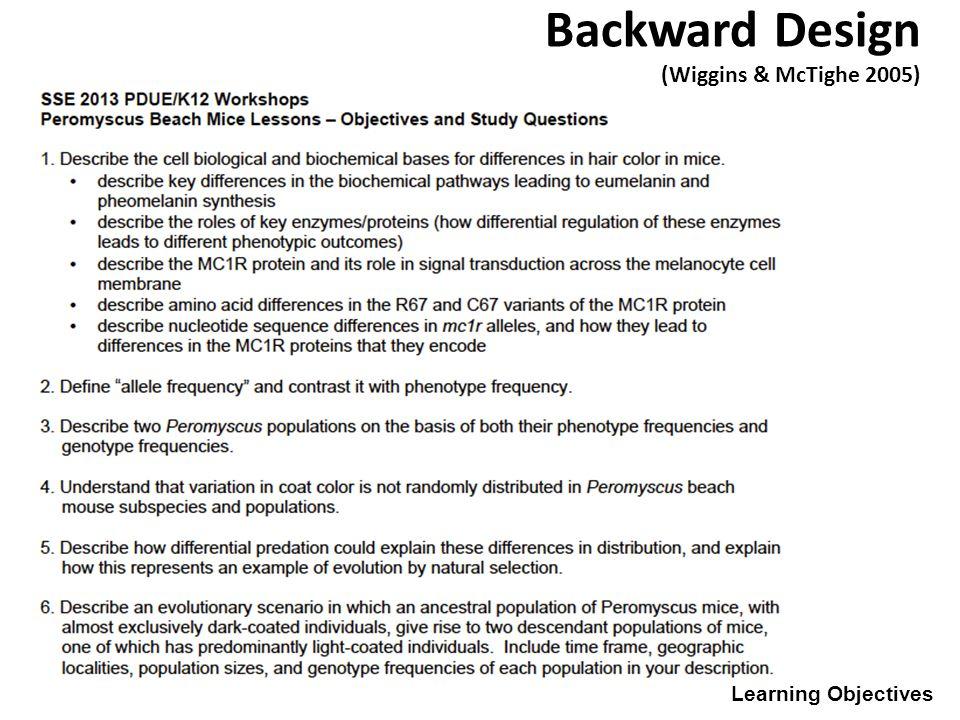 Learning Objectives Backward Design (Wiggins & McTighe 2005)