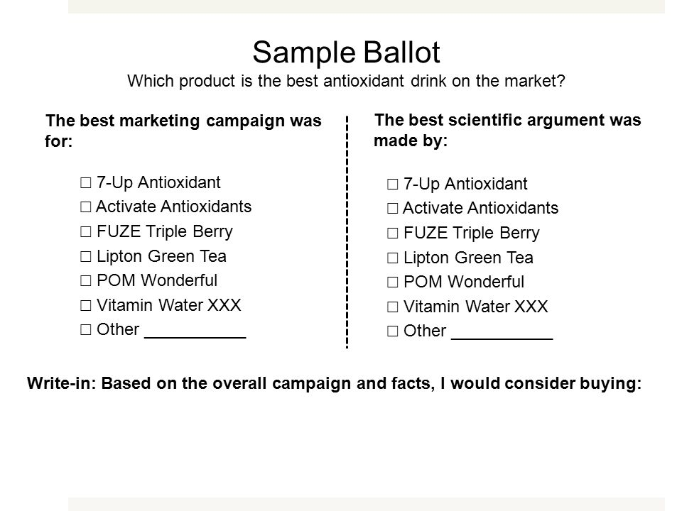 The best marketing campaign was for: The best scientific argument was made by: Write-in: Based on the overall campaign and facts, I would consider buying: Sample Ballot Which product is the best antioxidant drink on the market.