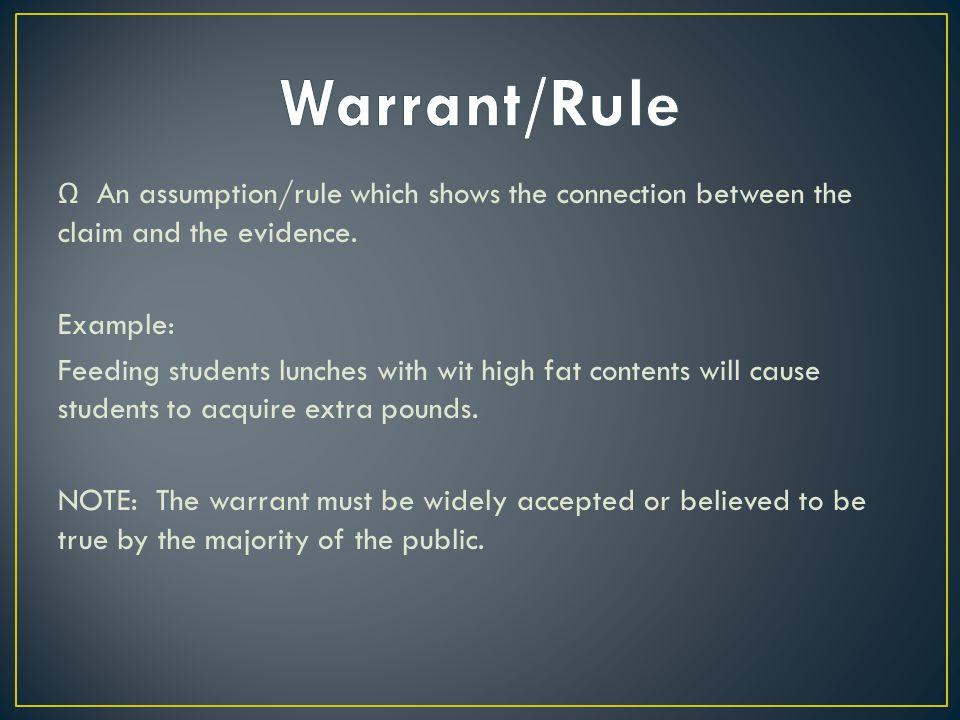 Ω An assumption/rule which shows the connection between the claim and the evidence.