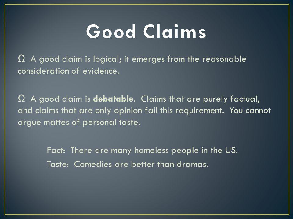 Ω A good claim is logical; it emerges from the reasonable consideration of evidence.