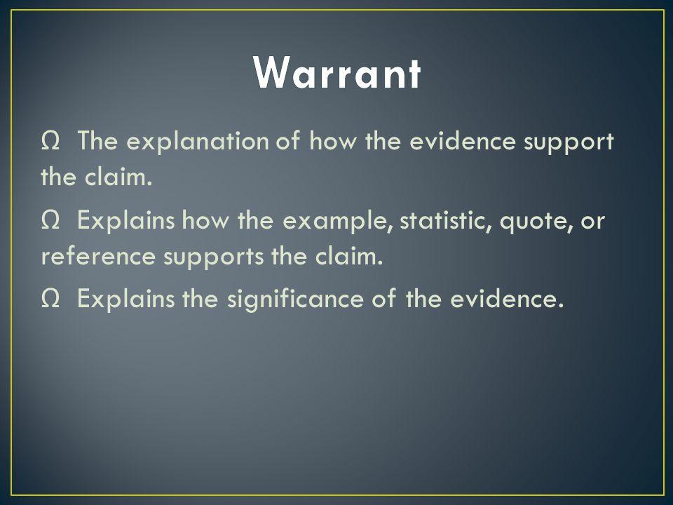 Ω The explanation of how the evidence support the claim.