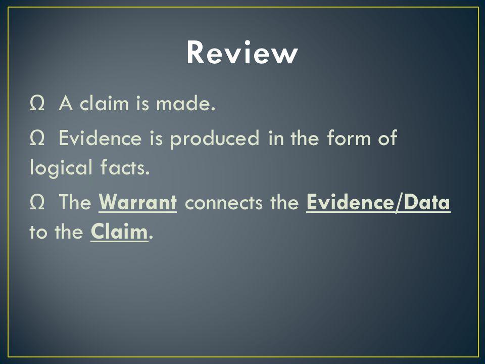 Ω A claim is made. Ω Evidence is produced in the form of logical facts.
